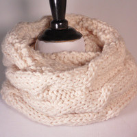 Soft Wool Chunky Cable Knit Infinity Scarf, Knit Cowl, Knit Snood, Chunky Cable Knit Scarf, Winter White - Ready to Ship