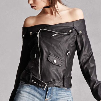 Faux Leather Moto Top