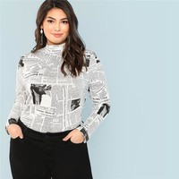 Plus Size Letter Graphic Print Stand Collar Long Sleeve Women T Shirts Streetwear Slim Fit Top Tees