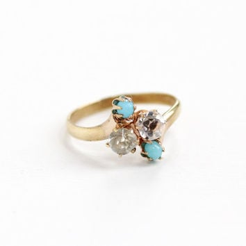 Vintage Gold Tone Simulated Diamond & Turquoise Glass Ring -  Antique Art Deco Gold Tone Cluster Bypass Style 1920s 1930s Jewelry