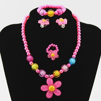 Kids Imitation Pearls Beaded Sun Flower Necklace