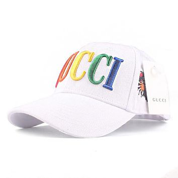 GUCCI Summer Newest Women Men Rainbow Letter Embroidery Sports Sun Hat Baseball Cap Hat White