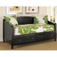 Twin size Black Wood Contemporary Daybed with Storage Drawers