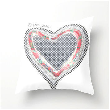 NESTED HEARTS decorative pillow love you accent cushion, pillow cover, cushion cover, love romance friendship birthday anniversary gift idea