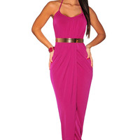 Rosy Halter Draped Gold Belted Dress