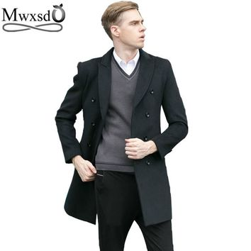 Mwxsd Winter Warm Men's middle long wool coat men woolen overcoat jacket men cashmere overcoat jacket wool & blends high quality