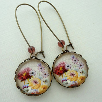 Vintage Flowers Earrings. Mustard Yellow. Eggplant Purple. Gift for her under 25 usd