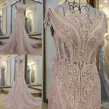 Sleeveless Embroidery Crystal Mermaid Wedding Dress With Trumpet Court Train