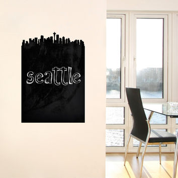 Seattle Skyline Chalkboard wall decal