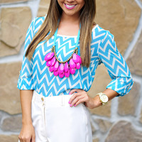 Fits And Squiggles Top: Blue/Ivory   Hope's