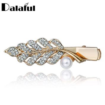 Chic Leaf White Beads Crystal Hair Clip Barrette Hairpin Headwear Accessories Hair Jewelry For Woman Wedding F116