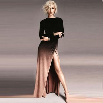 Women's Fashion Slim Gradient Long Sleeve Split Sexy Elegant Prom Dress [6048555201]