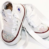Infant, Toddler Baby Girl High Top White Converse All Star Chuck Taylor's With White R