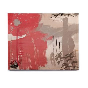 "Li zamperini ""Likeness"" Red Gray Abstract Contemporary Digital Painting Birchwood Wall Art"