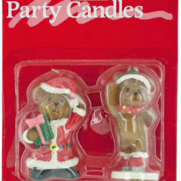 holiday theme teddy bear candles Case of 24