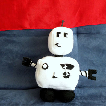 Ro-bee The Ro-bot: Model W-2 (Plush Robot, medium sized, black & white felt plushie)