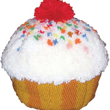 "Cupcake Huggables Shaped Pillow Latch Hook Kit 12""X9"""