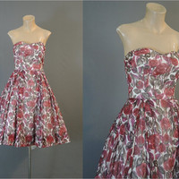 Pat Premo 1960s Strapless Floral Dress, 36 bust, Vintage Burgundy Floral Voile with Full Skirt