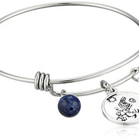 """Disney Stainless Steel Catch Bangle with Silver Plated Olaf """"Some People are Worth Melting For"""", and Sodalite Bead Charm Bangle Bracelet"""