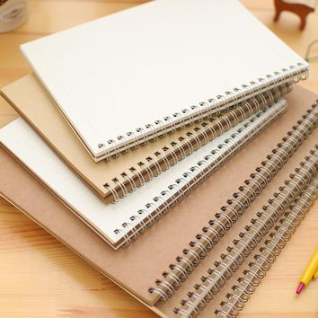 A4 A5 16K 25K Coil Spiral Notebook, Small rings Journal Book , Students drawing Graphic Kraft Cover Book