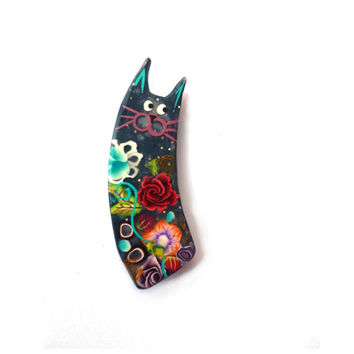 mothers day gift, Cat pin, Cat brooch, black cat pin named BRUNO, Art Brooch polymer clay design, flowers, colorful, fun black cat