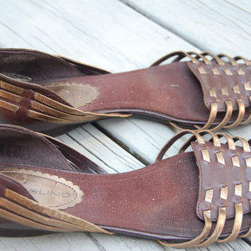 Vintage Bandolino Two Tone Brown & Bronze Gold Basket Woven Leather Huaraches Shoes Size 8
