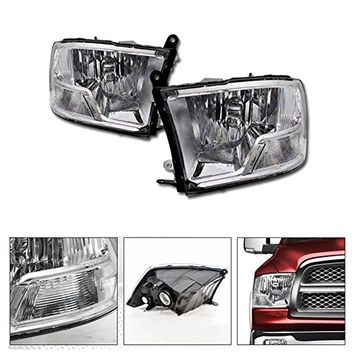 VXMOTOR 2009-2016 2017 Dodge Ram Truck Factory Crystal Style Dual Chrome Head Lights Headlights Headlamps Corner Signal Light Lamp NB
