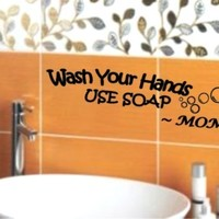 Wash Your Hands USE SOAP Mom Decal Wall Vinyl Bathroom Lettering Art quote sticker Stickerciti Brand (Come with 1 GlowInDark Monster switchplate Decal) StickerCiti Brand