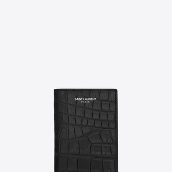 CLASSIC SAINT LAURENT PARIS Credit Card Wallet IN Black Crocodile Embossed LEATHER