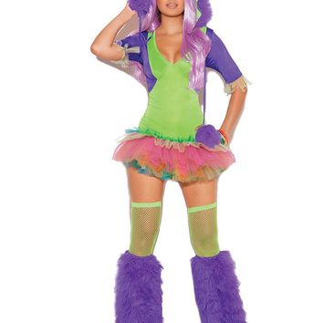 One Eyed Monster - 2 pc. costume includes tutu dress and  furry monster hood with one eye.