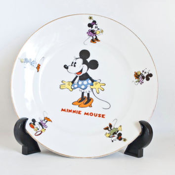 Vintage 1930s Minnie Mouse Plate, Walter E. Disney Bavaria Schumann with Gold Edge, 7 1/2 Inch, Bavarian China