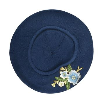 100% Cotton Beret French Ladies Hat with Blue Flower Bouquet