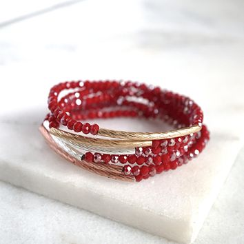 Bracelet Set Red Beads and bars