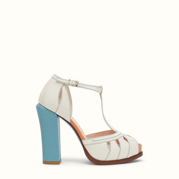 FENDI | SANDAL in white patent leather with light blue heel
