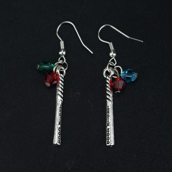 Suicide Squad Harley Quinn Crystals Baseball Bat Drop Dangle Earrings for Women Movie DC Comics Cosplay Costume Jewelry