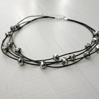 Statement leather choker silver glass beads necklace black leather cords