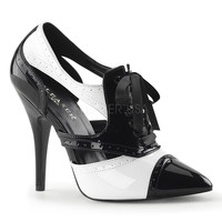 Seduce 458 Point Toe Single Sole Pump 6 -16 Black White Patent