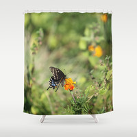 Black Swallowtail In The Garden Shower Curtain by Theresa Campbell D'August Art