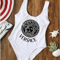 White Versace Womens One Piece Bikini Set