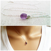 Amethyst Necklace - February Birthstone - Dainty Drop Necklace - Sterling Silver Necklace - Gemstone Briolette Necklace - Gift for Her