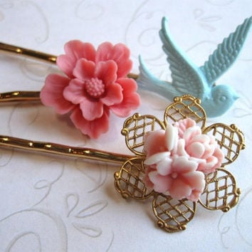 Pastel flower bobby pins, bluebird - pink hair flowers, gold plated hair pins