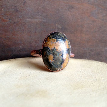 Jasper Ring - Oval Stone Ring - Raw Stone Ring - Copper Ring - Semiprecious Stone Ring - SIZE 9