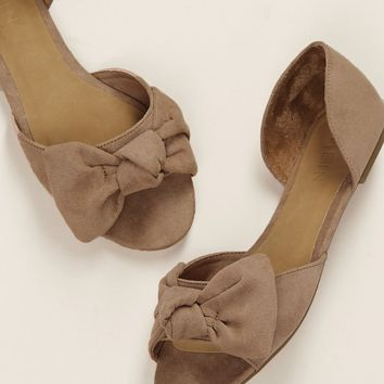 Peep Toe Side Cut Out Knot Detail Slip On Flats