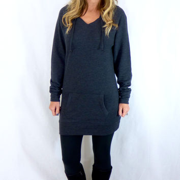Long Hooded Sweatshirt: Charcoal