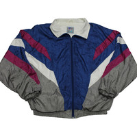 Vintage 90s Windbreaker Jacket Blue/Gray/Magenta Mens Size Large