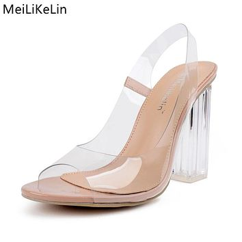Clear Jelly Women Crystal Transparent Heels Sandals