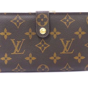 Authentic LOUIS VUITTON Monogram Continental Clutch Wallet Brown A1155