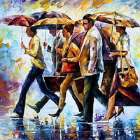"Today I Forgot My Umbrella — Oil Painting On Canvas By Leonid Afremov.  40""x30"""