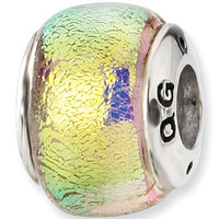Reflection Beads Silver Yellow Melon Dichroic Glass Bead