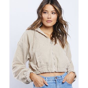 Roaming Ribbed Crop Hoodie